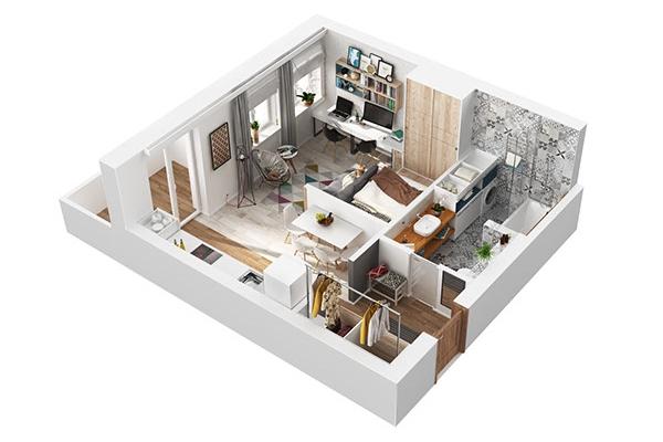План 3D проект однокомнатной квартиры 40 кв м