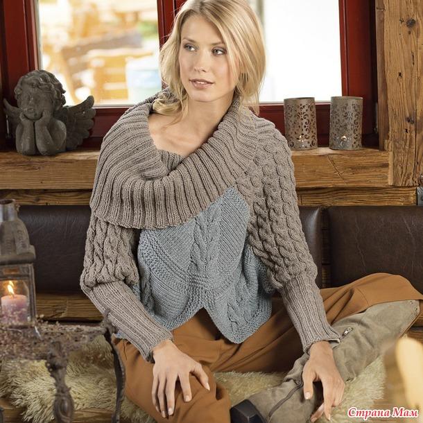 Оригинальный двухцветный пуловер с воротником хомут