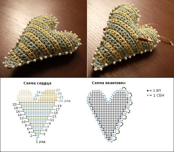 сердце крючком