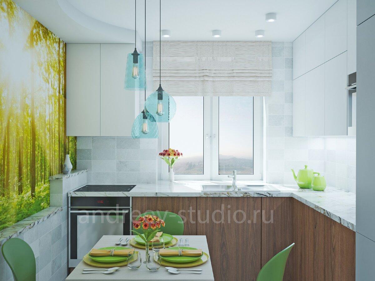 Кирпичики с небольшим цветовым разбросом в нейтральных цветах - отличное решение даже для небольшой кухни  (3Д фото авторов).