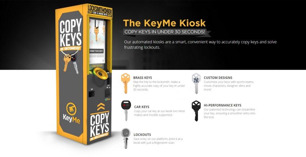 Киоск самообслуживания KeyMe для дублирования ключей от мотоцикла