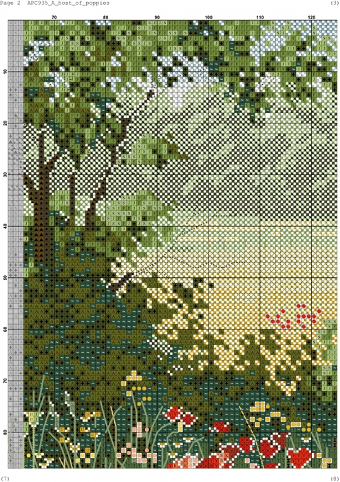 Поле схема вышивки крестом 27