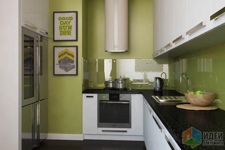 Интерьер современной кухни, зеленая кухня
