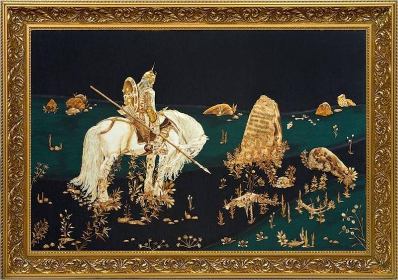 Картины из соломки Валерия Козлова.