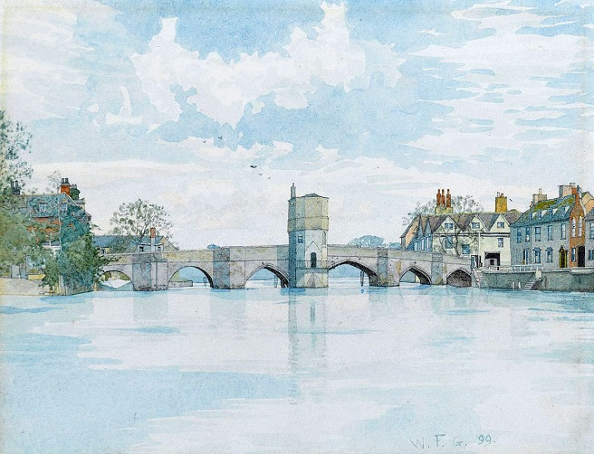 Мост в Сент-Айвсе, Хантингдоншир (The Bridge at St. Ives, Huntingdonshire). 1899 (656x502, 342Kb)