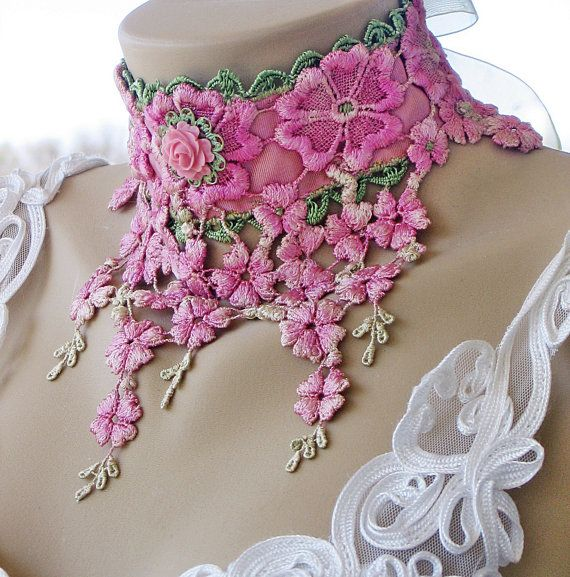 Just singing out to be #embellished with #Swarovski #Rhinestones!! Hand Dyed Lace Art Deco Choker: