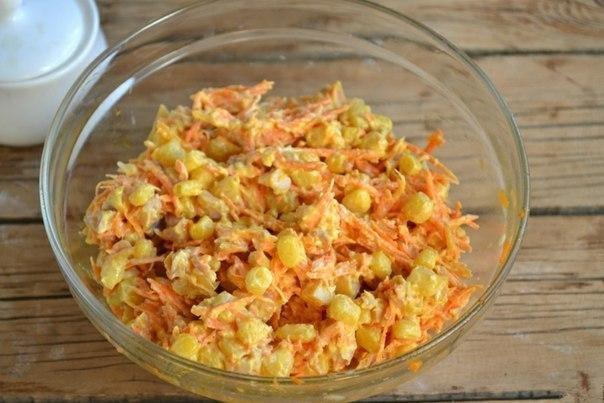 Интересный салат с корейской морковкой и копченой курицей