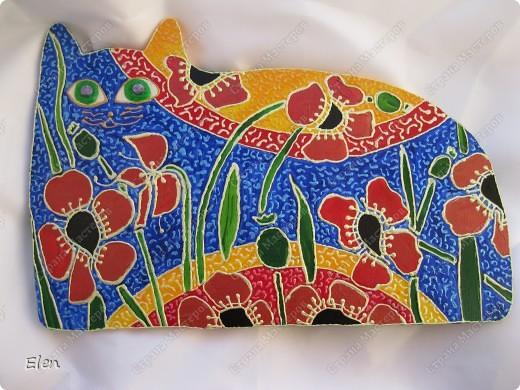 Картина, рисунок, панно Моделирование, Роспись: мои кошки расписные Гипс, Краска. Фото 1