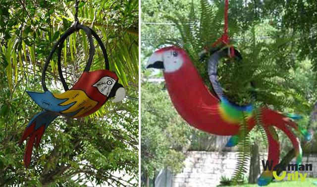 Как сделать из покрышки попугая