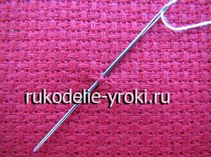Закрепление нити на ткани в начале вышивания