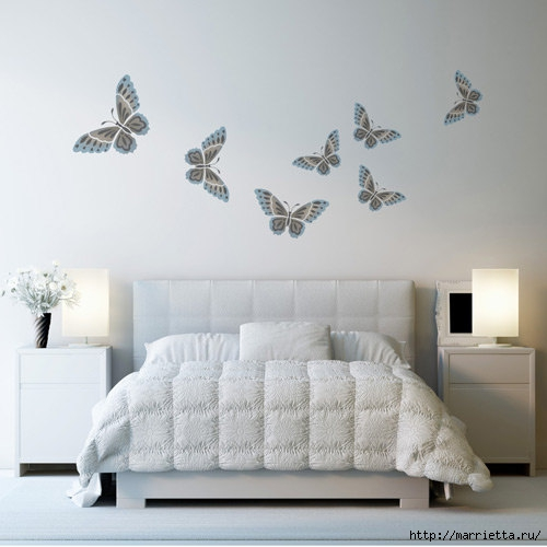 Порхающие бабочки в интерьере. Трафареты для стен и потолка (19) (500x500, 103Kb)