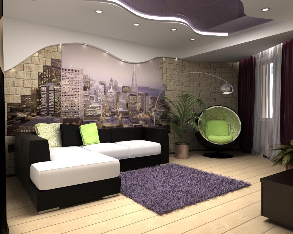 дизайн зала в квартире фотообои фото