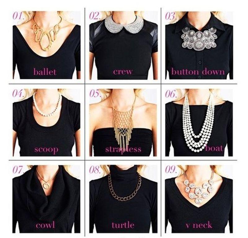 6. Выбираем украшения под разные виды декольте девушки, мода, одежда, стиль, шпаргалка