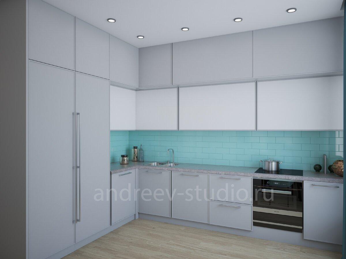Фартук кухни может быть акцентом цветовой композиции помещения кухни (3Д фото авторов).