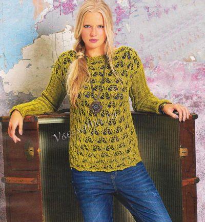 Ажурный пуловер цвета карри