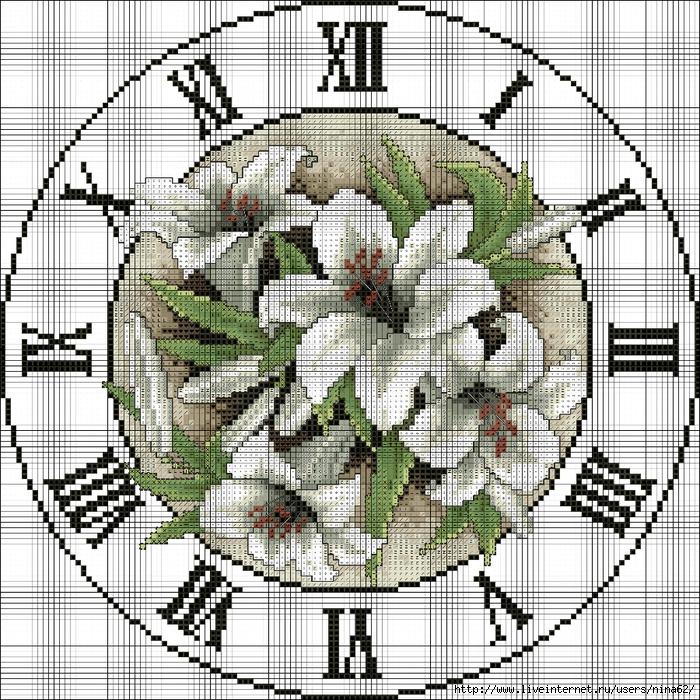 Вышитые часы - 16 схем для