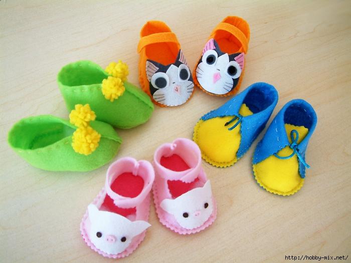 Прелестная обувь из фетра для малышей. Идеи, выкройки.