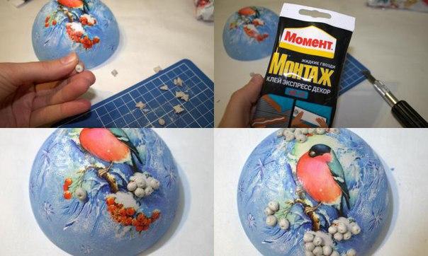 Мастер-класс: декорируем шарик «Снегирь и рябина»