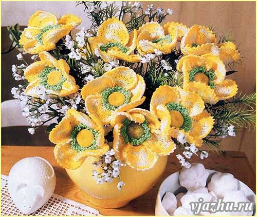 схема вязания цветка - Самое