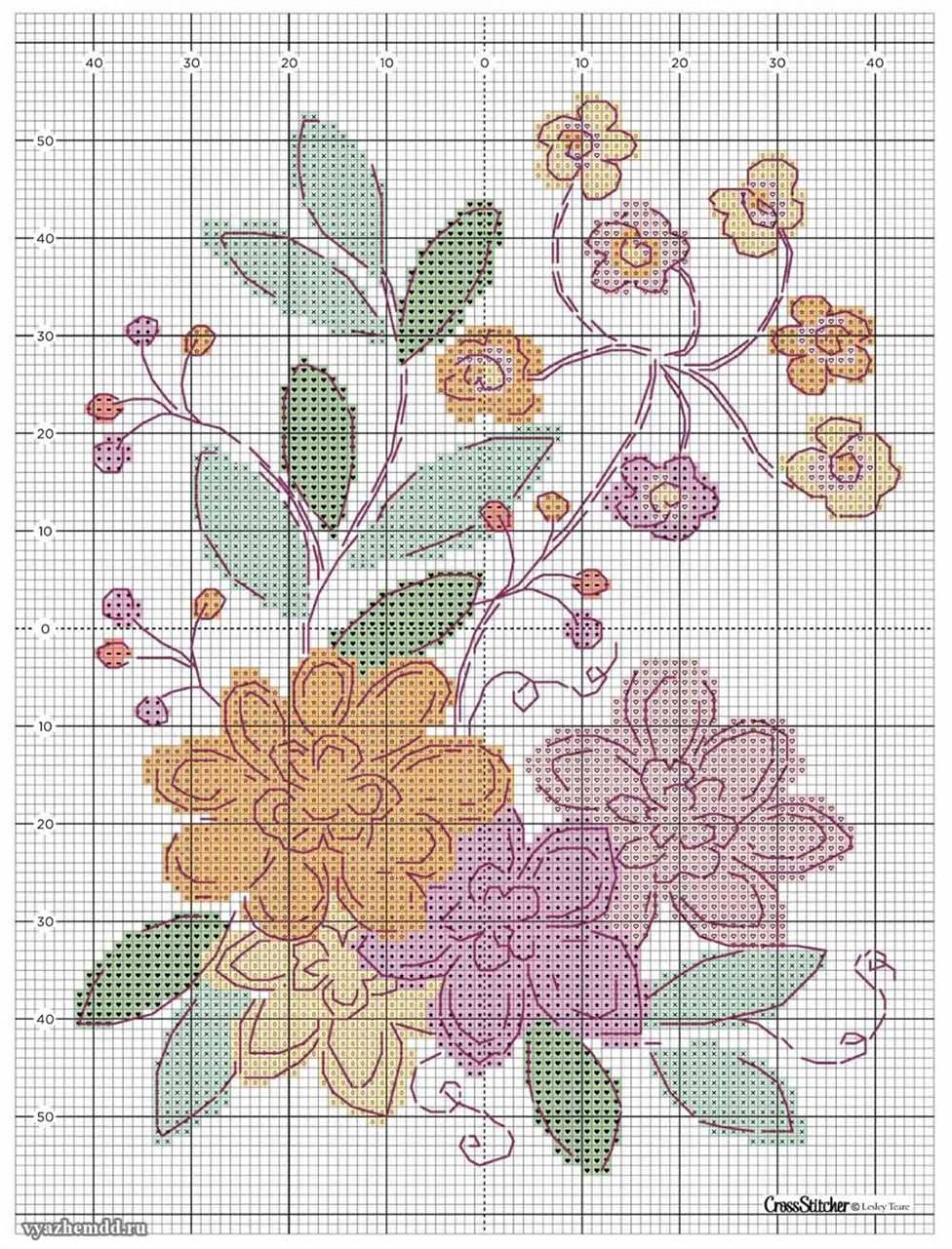 схема вышивки цветов
