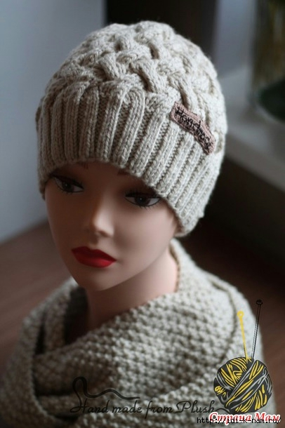 Вязание шапка плетёнка 97
