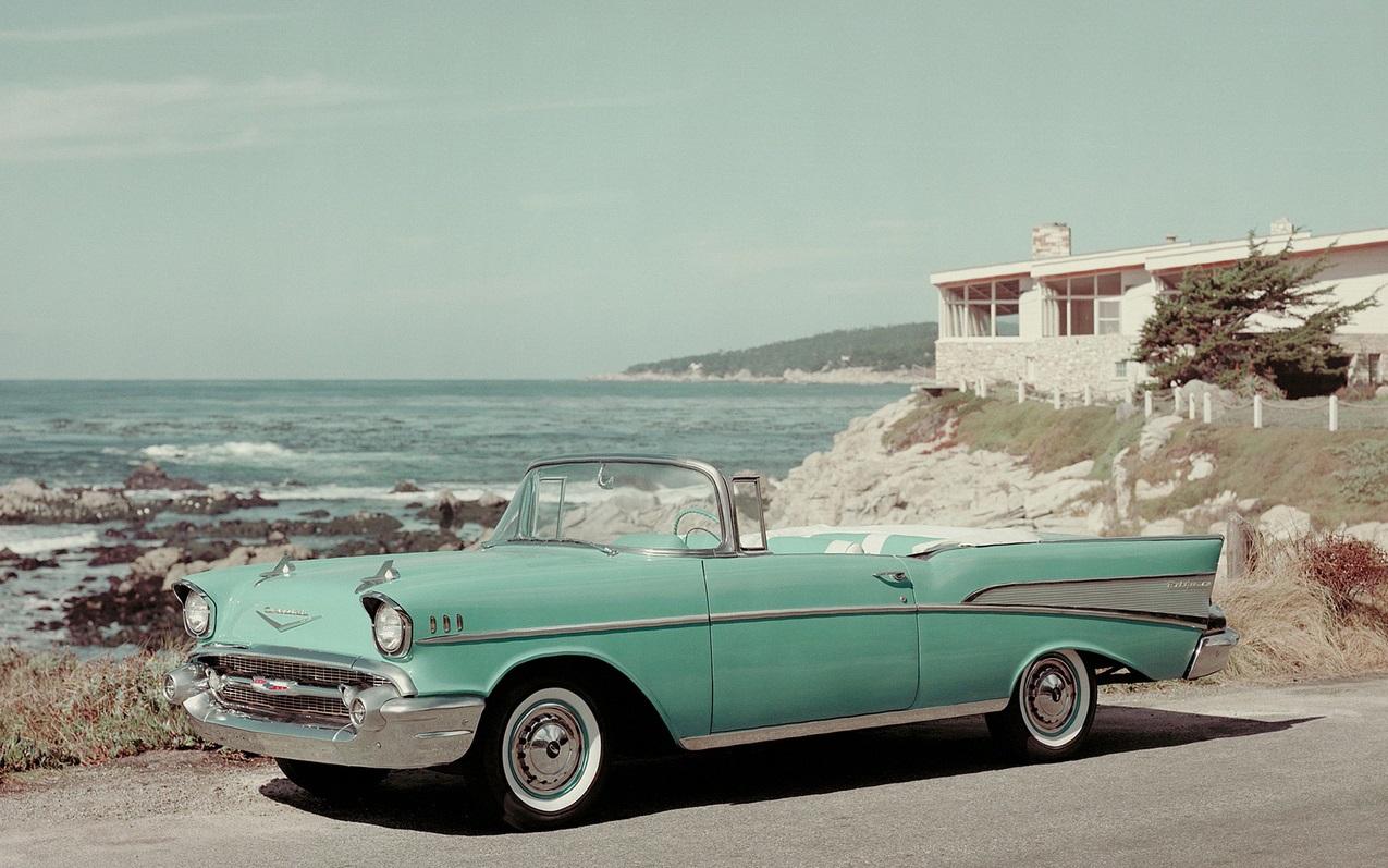 1957 год, Chevrolet Bel Air Convertible. Самый знаменитый «Бель Эйр» — это второе поколение, появившееся в 1955 модельном году. chevrolet, автодизайн, красота