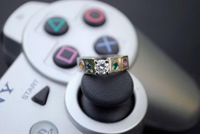 Помолвочное кольцо на джойстике Playstation диза, кольцо, креатив