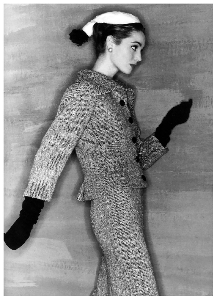 Elsa Martinelli in tweed suit by Balenciaga,French Vogue, September 1954 Photo Clifford Coffin.jpg