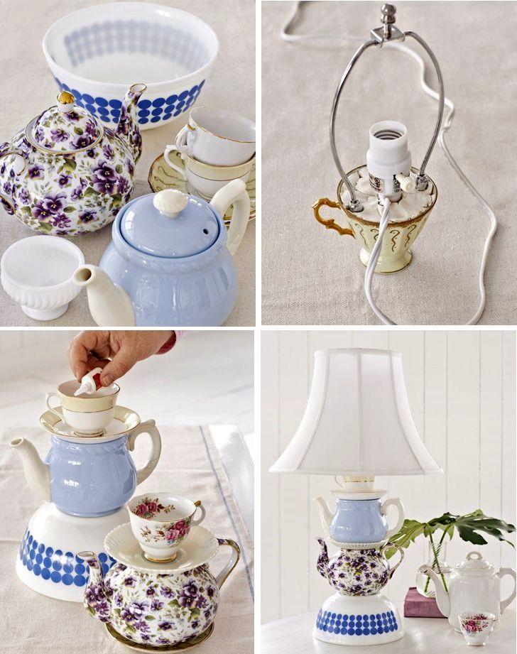 настольная лампа из чайного сервиза своими руками