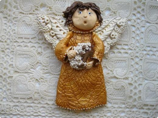 Картина, рисунок, панно Лепка: Ангелочки Гипс, Тесто соленое. Фото 2