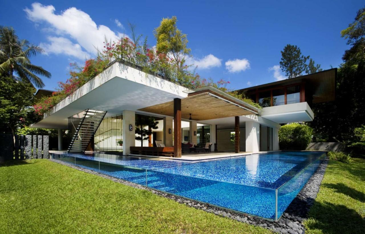 Дом в Сингапуре Tangga от Guz Architects – прогулка под водой и над холмом