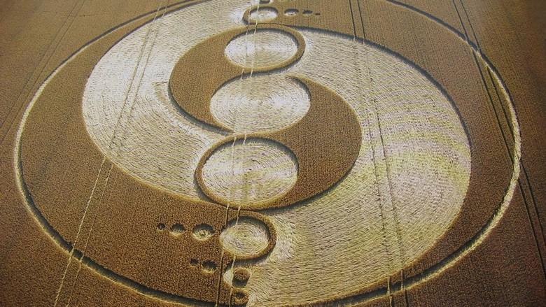 Британский уфолог поймал момент, когда НЛО создает рисунок на поле