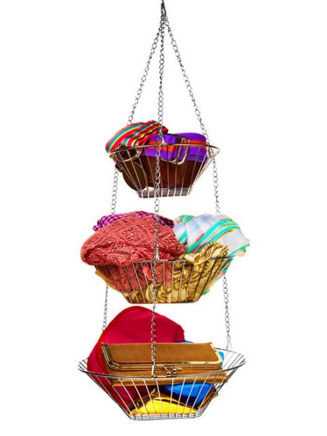 8. В навесных корзинах для фруктов можно разместить различные вещи и аксессуары  вещь, дом, хранение