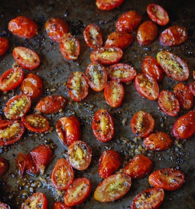 Чесночные помидоры черри еда, овощи