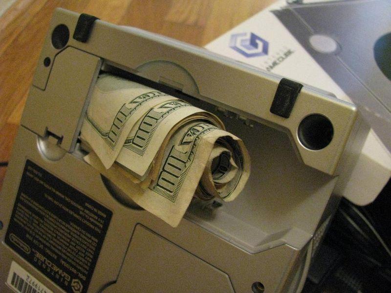 игровая приставка, нинтендо, бонус, доллары, деньги, купюры