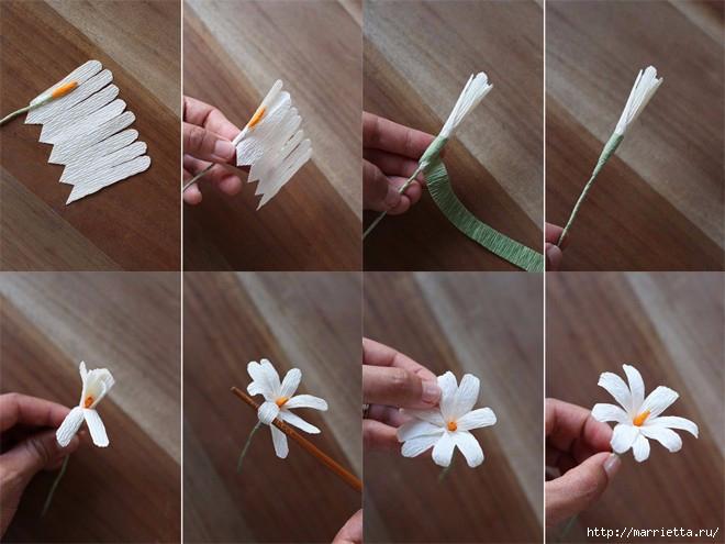 Как сделать из гофрированной бумаги маленькие цветочки