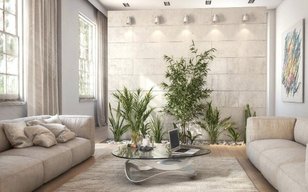 оформление интерьера гостиной растения с нишей в полу