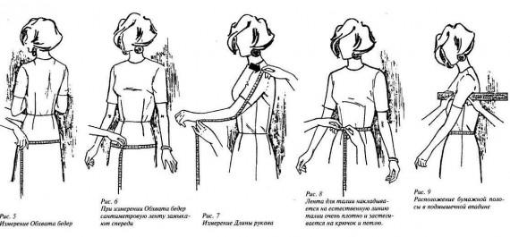 Снятие и расчет мерок для шитья