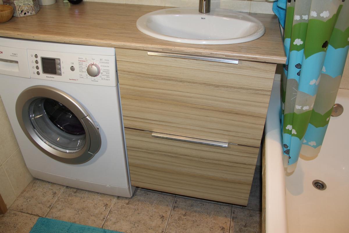 Сделать тумбу под раковину в ванной с дсп