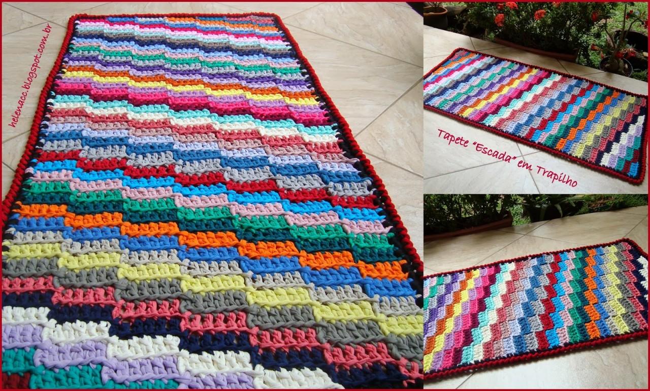 Симпатичный прямоугольный коврик из ленточной или футболочной пряжи. МК