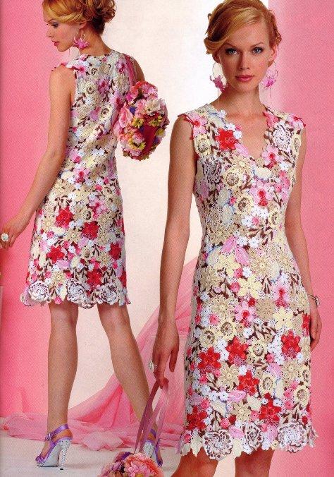 Цветы вязанные крючком в платье