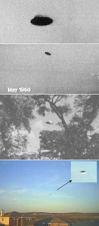 Вот такие «тарелки» летали над военными базами США в 50 - 60-е годы (вверху). Нижний снимок сделан в 2008 году над Форт Уортом.
