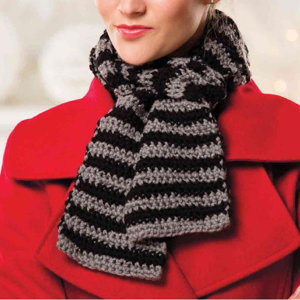 Как связать двухцветный шарф