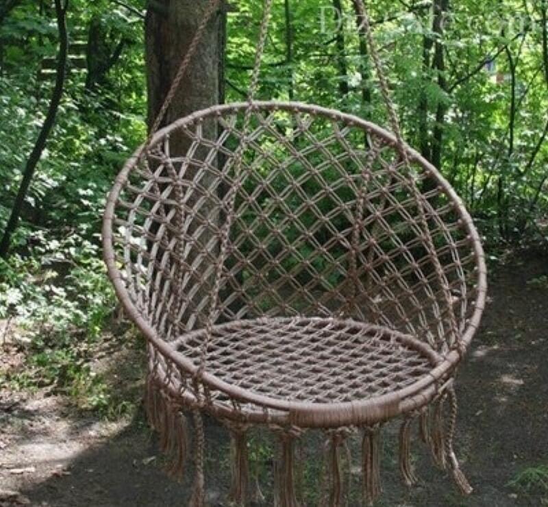 Своими руками. Подвесное кресло из шнура и труб - куда там покупным гамакам, и рядом не висели!