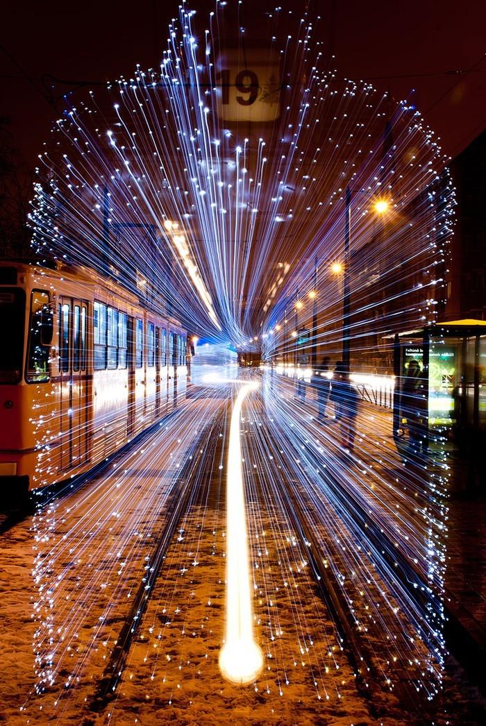 trams07 Чудесные светящиеся трамваи в ночном Будапеште