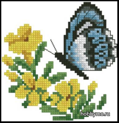 Простая вышивка бабочка