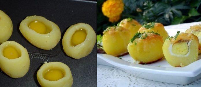 Замечательный гарнир к любому празднику — запеченный картофель «Сюрприз» с перепелиным яйцом
