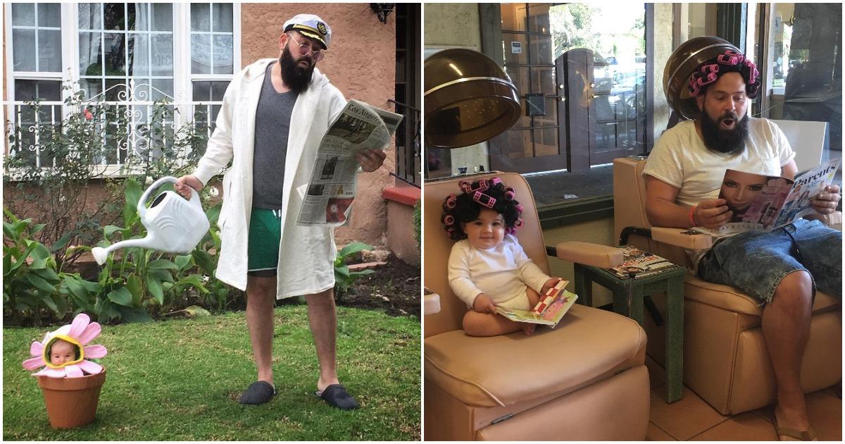 Забавная серия костюмированных фотографий креативного папы и его дочери младенца