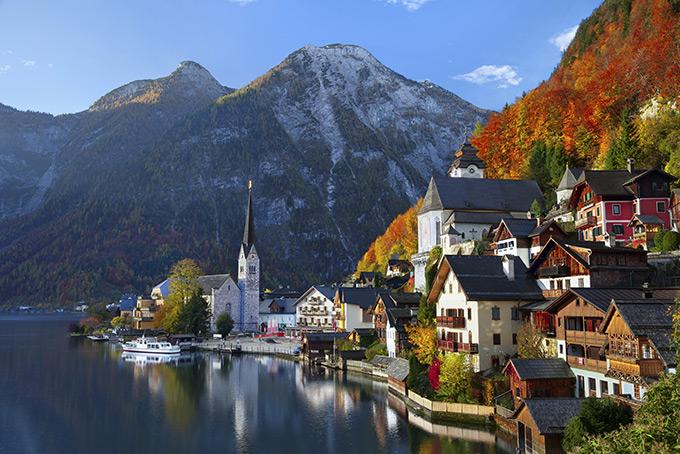 Осенний пейзаж в Гальштате, Австрия