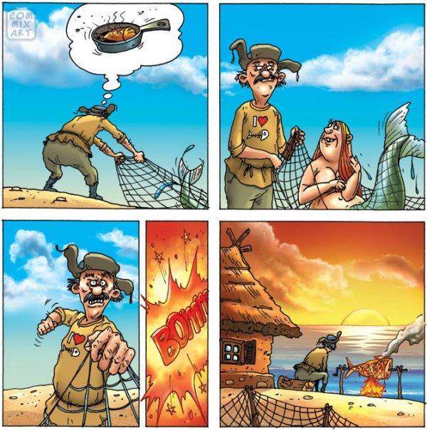 Приключения рыбака в мини-комиксах